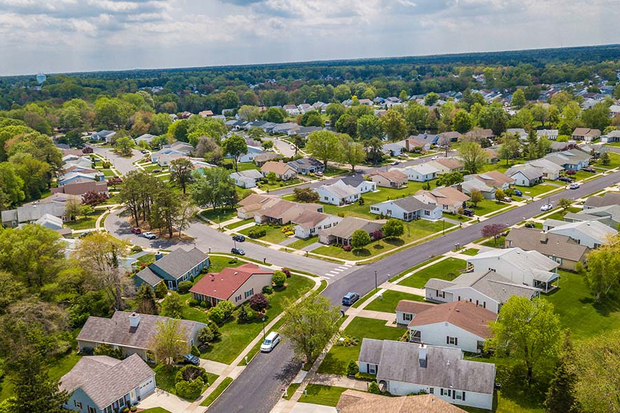 Pinson AL - Aerial View Of Small Town Neighborhood In Pinson Alabama